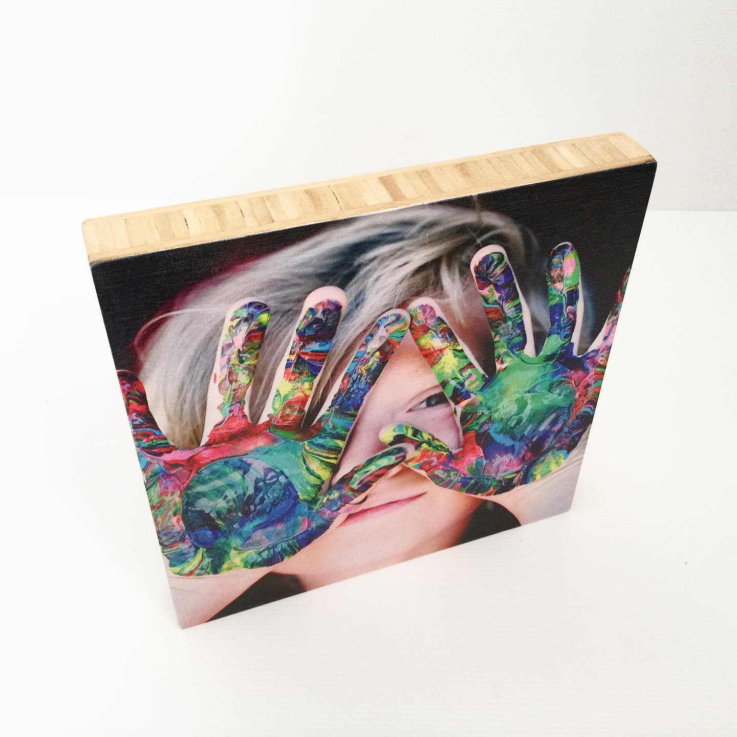 Photo on a Medium Bamboo Square Magnet-Me